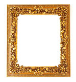 在白色背景隔绝的老古色古香的金黄框架 免版税库存照片