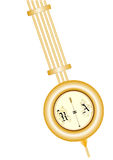 在白色背景隔绝的老时钟黄铜摆锤 库存照片