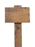 在白色背景隔绝的老木标志。 免版税库存照片