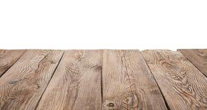 在白色背景隔绝的老木桌 免版税库存照片