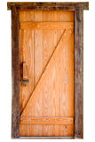 在白色背景隔绝的老木门 库存照片