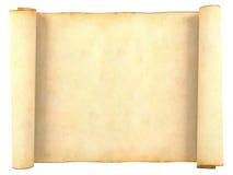 在白色背景隔绝的老空白的古色古香的纸卷纸 库存图片