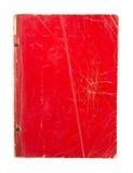 在白色背景隔绝的老红色书套 库存照片