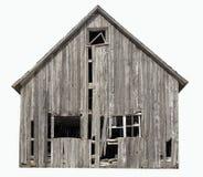 在白色背景隔绝的老被放弃的农舍 免版税库存图片