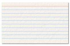 在白色背景隔绝的老索引卡片。 免版税库存照片