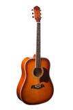 在白色背景隔绝的自然木古典声学吉他 免版税库存图片