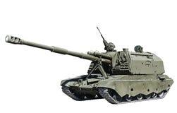 在白色背景隔绝的自走火炮 免版税库存照片