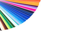 在白色背景隔绝的色板显示,颜色编目,指南 免版税库存照片