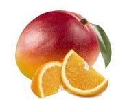 在白色背景隔绝的芒果整个橙色切片 免版税库存照片