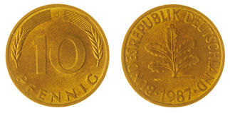 10在白色背景隔绝的芬尼1987硬币,德国 免版税库存照片