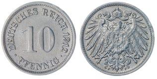 10在白色背景隔绝的芬尼1912硬币,德国 免版税库存照片