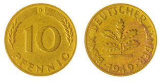 10在白色背景隔绝的芬尼1949硬币,德国 图库摄影