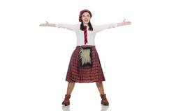在白色背景隔绝的苏格兰妇女 库存图片
