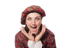 在白色背景隔绝的苏格兰妇女 库存照片