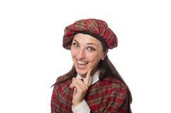 在白色背景隔绝的苏格兰妇女 免版税图库摄影