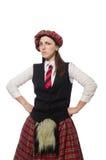 在白色背景隔绝的苏格兰妇女 图库摄影