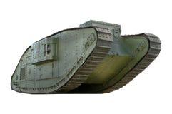 在白色背景隔绝的英国标记v坦克 库存照片