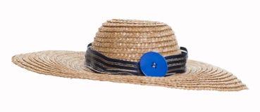 在白色背景隔绝的草帽 免版税库存照片