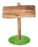 在白色背景隔绝的草的老木标志 免版税库存图片