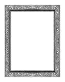 在白色背景隔绝的葡萄酒灰色框架,与截去p 免版税库存图片