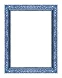 在白色背景隔绝的葡萄酒蓝色框架,与截去p 库存照片