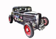 在白色背景隔绝的葡萄酒20世纪30年代旧车改装的高速马力汽车 库存照片