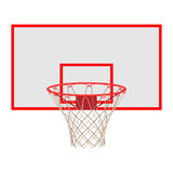 在白色背景隔绝的蓝球板的篮球篮 免版税库存照片