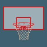 在白色背景隔绝的蓝球板的篮球篮 免版税库存图片