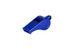 在白色背景隔绝的蓝色口哨 免版税库存照片