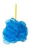 在白色背景隔绝的蓝色海绵阵雨 免版税库存图片