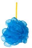 在白色背景隔绝的蓝色海绵阵雨 库存图片