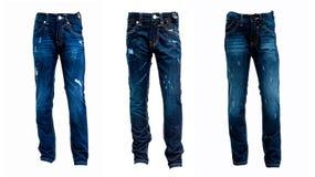在白色背景隔绝的蓝色牛仔裤拼贴画  免版税库存图片