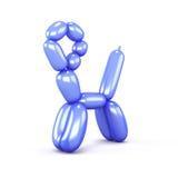 在白色背景隔绝的蓝色猫气球 3d回报image.colorful圆筒 免版税库存照片