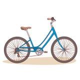 在白色背景隔绝的蓝色自行车 免版税库存照片