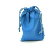 在白色背景隔绝的蓝色袋子 免版税库存照片