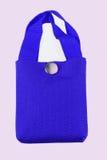 在白色背景隔绝的蓝色织品袋子 图库摄影