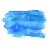 在白色背景隔绝的蓝色水彩污点 艺术性的油漆纹理 库存照片