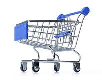 在白色背景隔绝的蓝色购物车 文件包含一个路径对隔离 库存图片