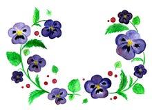 在白色背景隔绝的蓝色紫罗兰水彩whreath  向量例证