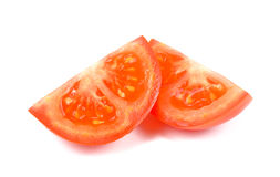在白色背景隔绝的蕃茄切片,新蕃茄切片 免版税库存照片