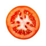 在白色背景隔绝的蕃茄切片 免版税库存图片
