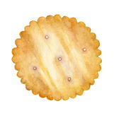 在白色背景隔绝的薄脆饼干,与裁减路线-水彩例证 免版税库存照片