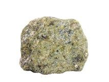 在白色背景隔绝的蛇纹岩岩石自然样品 免版税图库摄影