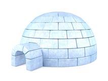 在白色背景隔绝的被冰的园屋顶的小屋 免版税图库摄影