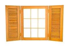 在白色背景隔绝的被打开的木窗口,与拷贝温泉 库存图片