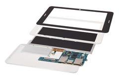 在白色背景隔绝的被拆卸的片剂计算机 库存照片