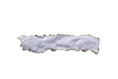在白色背景隔绝的被烧的纸 免版税库存照片