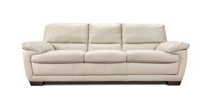在白色背景隔绝的豪华皮革沙发 免版税库存图片
