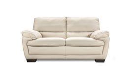 在白色背景隔绝的豪华皮革沙发 免版税图库摄影