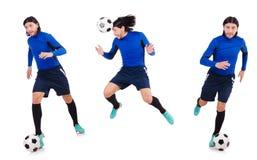 在白色背景隔绝的足球运动员 免版税库存照片